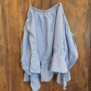 Blue & White Striped Off the Shoulder Top